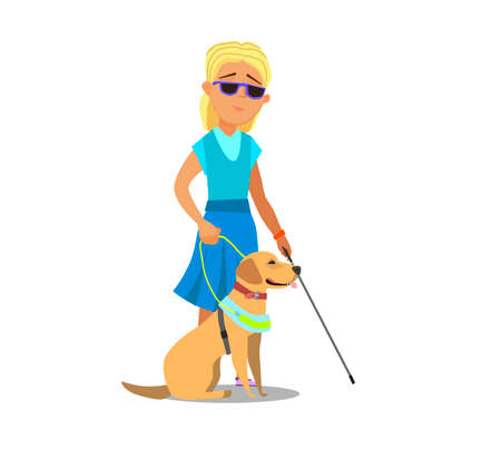 Blind girl Being Guided by a Seeing Eye Dog. Vector illustration in cartoon style.