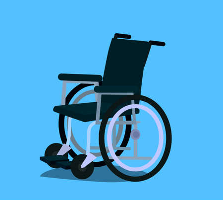 Wheelchair in the hospital vector flat material design object. Isolated illustration.