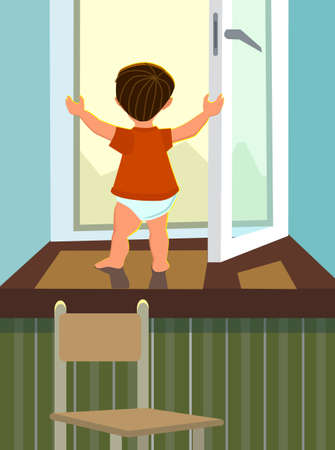 The boy stands in an open window. The concept of a child in danger.Vector illustration in cartoon style. Standard-Bild - 118097438