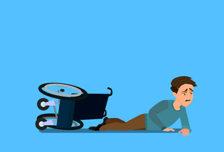 Little boy fell off wheelchair sitting on the floor. Vector illustration in cartoon style.