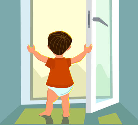 The boy stands in an open window. The concept of a child in danger.Vector illustration in cartoon style. Illustration