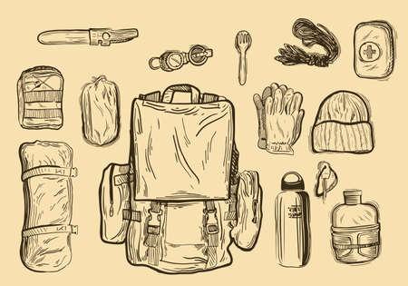 Equipment for trekking, isolated on white Ilustração