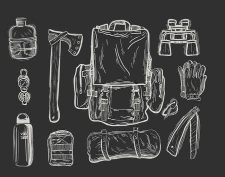 Equipment for trekking in graphic style hand-drawn vector illustration.