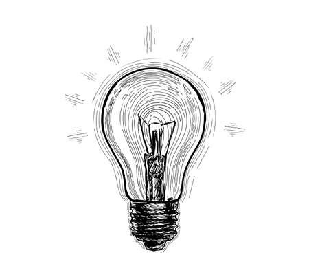 Bulb, lamp sketch. Electricity, electric light, energy concept Hand drawn vector illustration Standard-Bild - 123394742