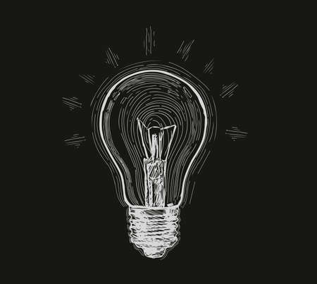 Bulb, lamp sketch. Electricity, electric light, energy concept Hand drawn vector illustration Standard-Bild - 123394744
