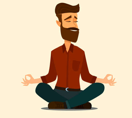 Young man and woman couple meditating in lotus pose. illustration in flat style.