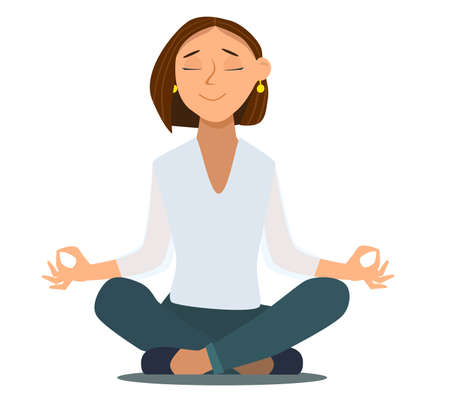 Relaxing and Stress Relief at Workplace Cartoon Vector Concept. Businessman with Untied Necktie, Sitting in Lotus Position with Closed Eyes, Meditating in Noisy Office, Practicing Yoga. Zen in Work Standard-Bild - 123394748