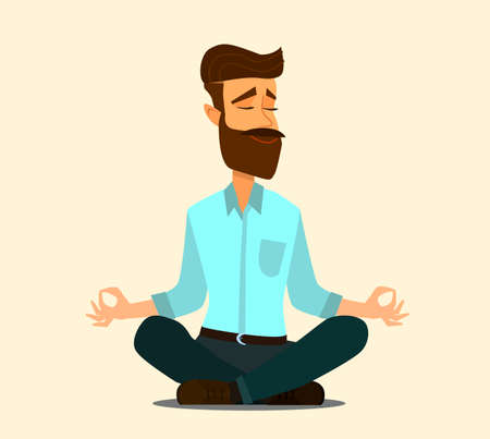 Relaxing and Stress Relief at Workplace Cartoon Vector Concept. Businessman with Untied Necktie, Sitting in Lotus Position with Closed Eyes, Meditating in Noisy Office, Practicing Yoga. Zen in Work Standard-Bild - 123394750