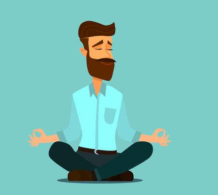 Meditating man over isolated background. Keep calm. Ilustração