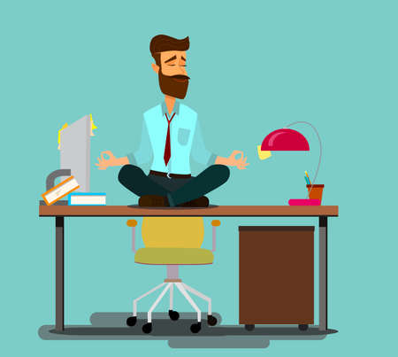 Relaxing and Stress Relief at Workplace Cartoon Vector Concept. Businessman with Untied Necktie, Sitting in Lotus Position with Closed Eyes, Meditating in Noisy Office, Practicing Yoga. Zen in Work