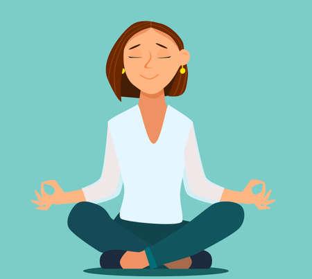 Meditating man over isolated background. Keep calm. Vektorové ilustrace