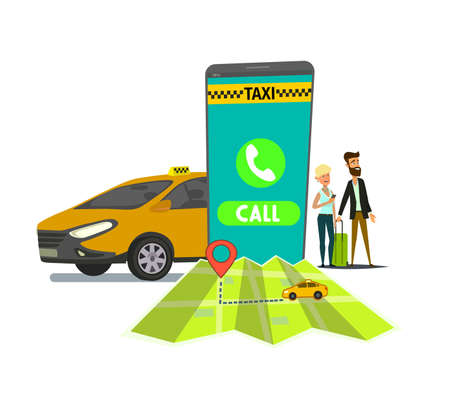 Taxi application on mobile phone vector illustration. Urban taxi service. Standard-Bild - 122385653