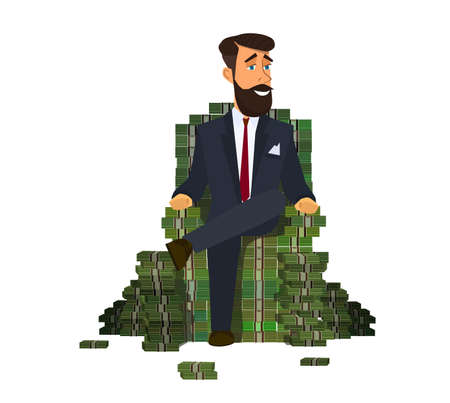 Happy rich man sitting confidently on a big pile of stacked money. Success in business. illustration vector illustration in cartoon style. Archivio Fotografico - 122385654