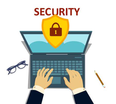 Padlock on laptop, laptop security, lock laptop illustration flat design style