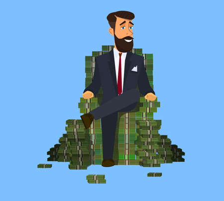 Happy rich man sitting confidently on a big pile of stacked money. Success in business. illustration vector illustration in cartoon style. Standard-Bild - 122385655