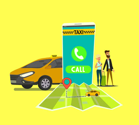 Public taxi mobile application concept. Hand holding smart phone with taxi app on display. Urban taxi service.