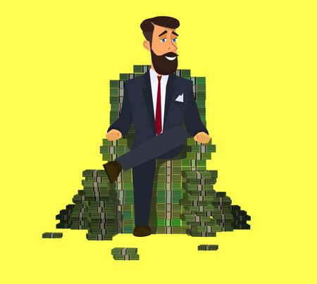 Glücklicher reicher Mann, der selbstbewusst auf einem großen Haufen gestapelten Geldes sitzt. Erfolg im Geschäft. Abbildung Vektor-Illustration im Cartoon-Stil.