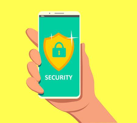 Mobile security app on smartphone screen. User touch screen. Ilustração