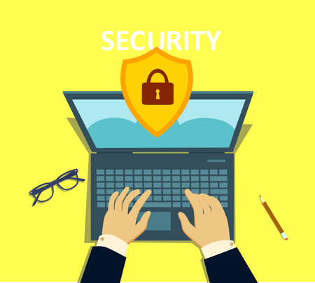 Computer security concept. Laptop with shield and lock on table. Vector illustration in cartoon style. Standard-Bild - 122385657