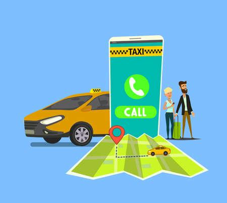 Taxi application on mobile phone vector illustration. Urban taxi service. Standard-Bild - 122385658