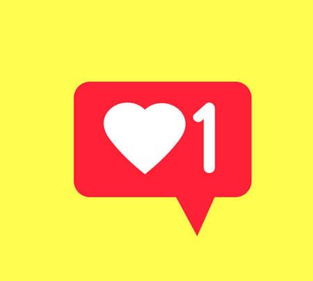 Like notification icon isolated on gray background.