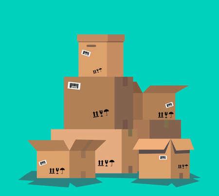 Pila de cajas de cartón. Embalaje de entrega de cartón caja abierta y cerrada con signos frágiles. Ilustración de vector de estilo plano