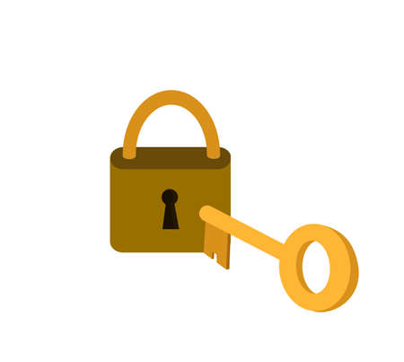 Key and lock. Success, solution, opportunity and safety concept. Vector illustration flat design. Standard-Bild - 122385663