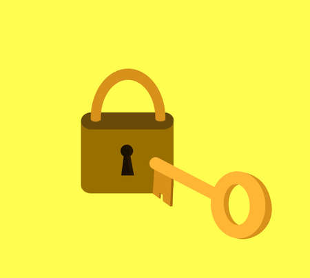 Key and lock. Success, solution, opportunity and safety concept. Vector illustration flat design.