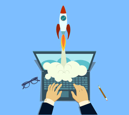 Startup launch concept with rocket, computer and related thin line icons.