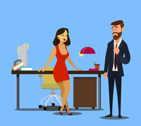Une histoire d'amour au travail. Une belle secrétaire séduit un homme d'affaires. Séduction. Équipe commerciale réussie.