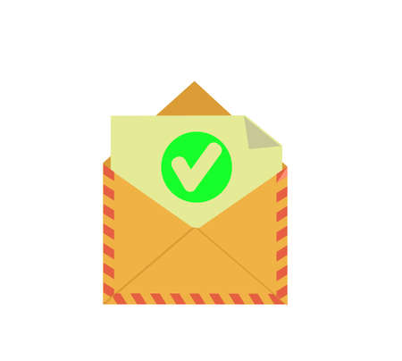 Opened envelope and document with green check mark line icon.