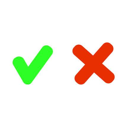 Set check mark and cross in circle.