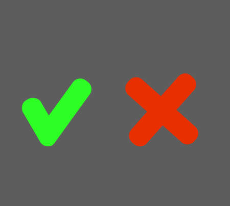 Set check mark and cross in circle