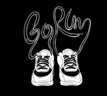 Running quote. Hand drawn vintage illustration with hand lettering. This illustration can be used as a print on t-shirts and bags, stationary or as a poster.