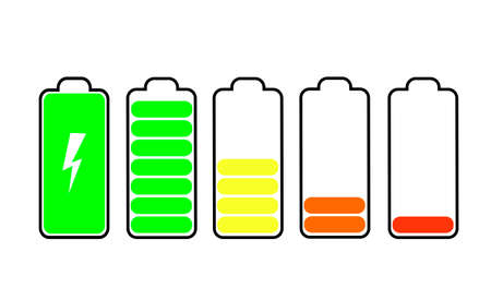 Battery charge indicator icons.   illustration isolated on white background beautiful black color.