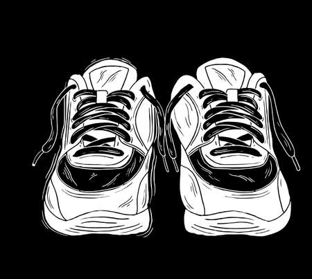 Sneakers. Hand drawn vintage illustration. This illustration can be used as a print on t-shirts and bags, stationary or as a poster.