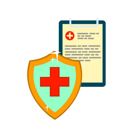 Medical protection. Health insurance. Vector illustration in flat style.