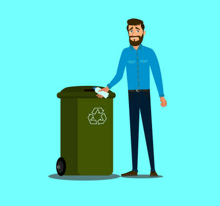 The concept of caring for the environment and sorting garbage. Young man throws a plastic bottle into the trash can. .Recycling plastic,segregate waste,sorting garbage,eco friendly concept.Vector illustration. Illustration