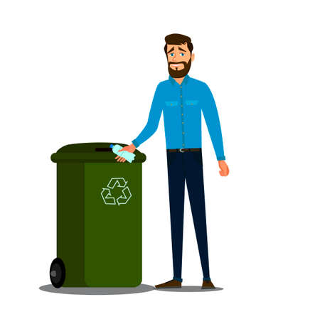 The concept of caring for the environment and sorting garbage. Young man throws a plastic bottle into the trash can. .Recycling plastic,segregate waste,sorting garbage,eco friendly concept.Vector illustration. Ilustração
