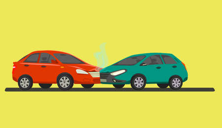 Car accident . Two cars involved in a car wreck. Vector illustration in cartoon style.