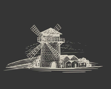 Windmill. Handwritten sketch. Black ear, on isolated background. Gluten food ingredient engraving retro style.