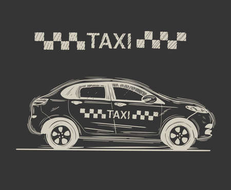 Taxi car in graphic style from hand drawing image. Handwritten sketch. Vector illustration.