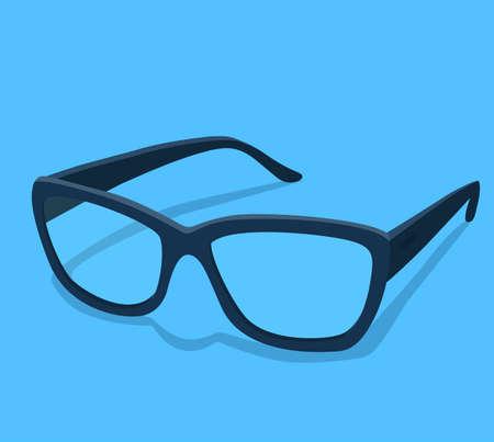 Modern glasses icon isolated on white background vector illustration of elegance spectacles in black frame, eyeglasses with lense, eyewear model Çizim