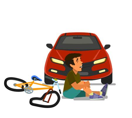 Traffic accident the place of collision of a car with a child on a Bicycle. Child car accident. Vector illustration in cartoon style. Eps10.