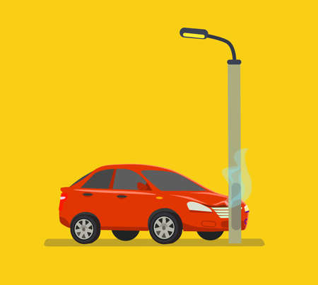 The car hit a pole. Inexperienced driver. Drunk driver. Vector illustration in cartoon style. Eps10. Illustration