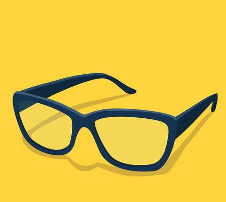 Modern glasses icon vector illustration of elegance spectacles in black frame, eyeglasses with lense, eyewear mode Vector illustration in cartoon style. Eps10.