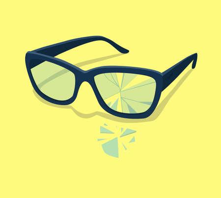 Broken glasses. Vector illustration. Old break glasses Eps10