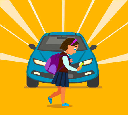 The girl with her smartphone and does not see the car on the road. Child car accident. Vector illustration in cartoon style.