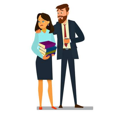 Acoso sexual en el trabajo, mujer de oficina y su jefe, ilustración vectorial en estilo de dibujos animados. Eps10.
