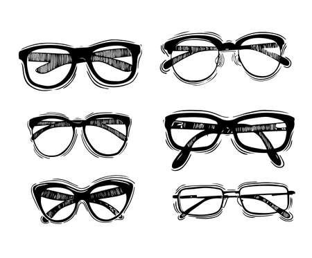 metal framed geek glasses vintage style Vector hand-drawn illustration. Çizim